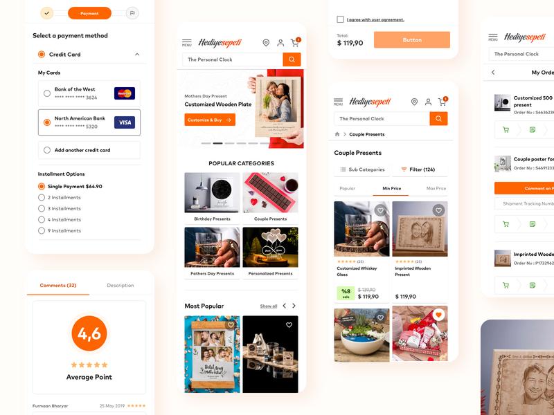 Responsive UI/UX Design Project uxui sleek clean shopping gift responsive ui mobile app app design app mobile responsive ecommerce design minimal ux design ui