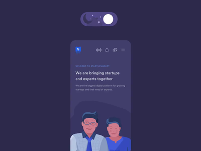 Day and Night Modes for Mobile App interaction startup day night dim toggle animation layout clean design illustration responsive ux dark mode ui