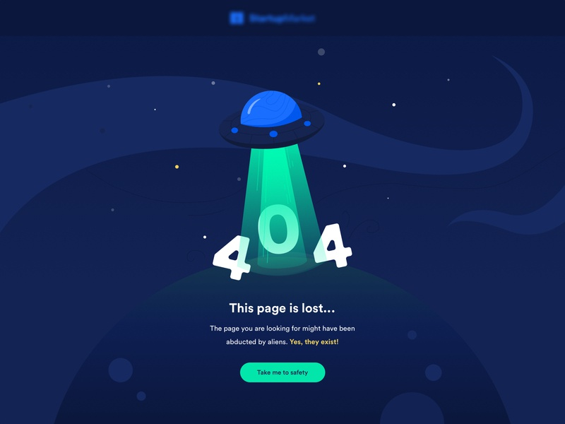 This page is lost... 404 Page designers minimal ui creative space ufo illustration clean layout 404 error page 404 page lost 404 design