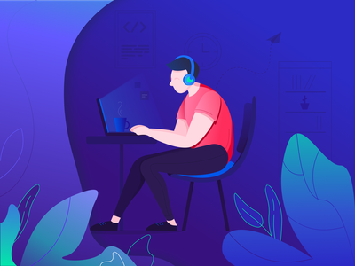 Developer on Duty sketch illustrator icon designer developer coding blue library plants coffee laptop cup scene man design clean illustration