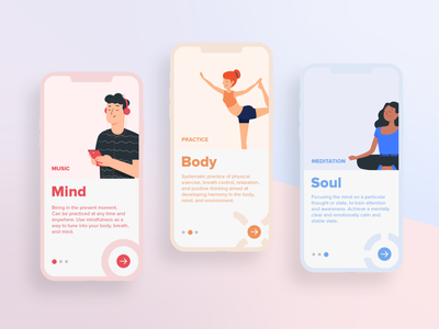 Mindful Yoga App yoga mobile app application product ux showcase ui design user interface screen welcome