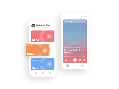 Mindful yoga - Main screen + one of the ux  ui mobile app design mobile app mobile ui main screen yoga app application product ux showcase ui user interface design