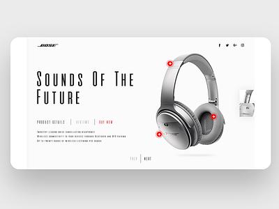 Product showcase UI for Headphones product user interface minimal e commerce showcase shoes web webdesign web design ui