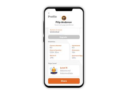 DailyUI #010 Yoga concept app - social share @ profile app design ui  ux ui design yoga app showcase app application product ux user interface ui design