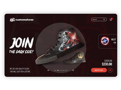 Custom shoes showcase #011 snickers web webdesign kicks shoe product showcase ux user interface ui design