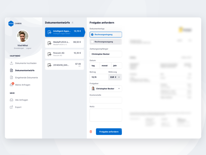 Automated Accounting with CANDIS dashboad saas ux clean interface ui design