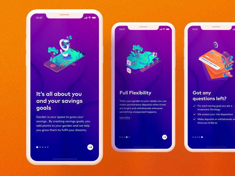 Garden Personal Finance App ui design munichre cobe ux fintech android ios app finance investment experience playful munich colors vibrant design ui