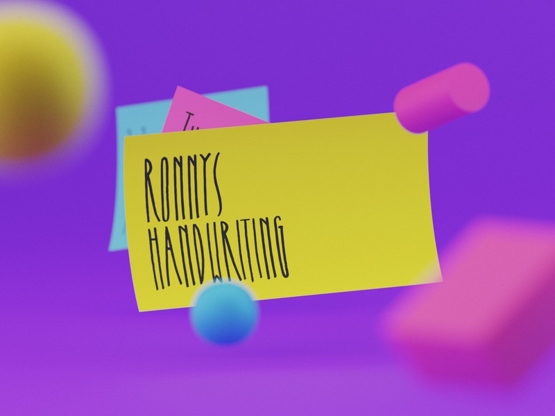 Ronnys Handwriting Font fonts abstract forms playful render postit sharpie script font handwriting ronnys b3d colors vibrant illustration typography munich design yung frish