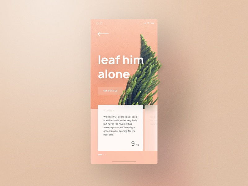 Plant Review Screen rating reviews plant vector style shadow gradient colors clean noise munich yung frish typography app light design ux blur ui