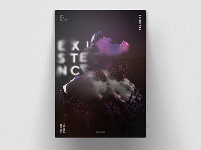 Existence Poster arts art design munich flight86 frish yung model statue noise blur render polygons live dev webgl future purple existence poster
