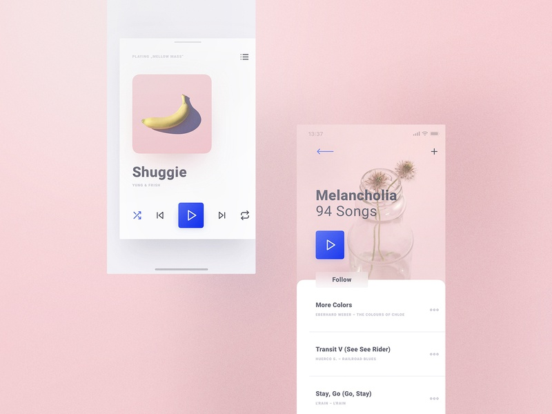Cream iOS UI Kit Music Section interactions overlay detail playlist player music resources goods digital pastell light design ux app ios kit ui frish yung ui8