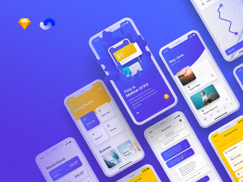 Mellow iOS UI Kit launch release illustration social ui8 yung frish ui kit ios app ux design light digital goods resources detail overlay interactions