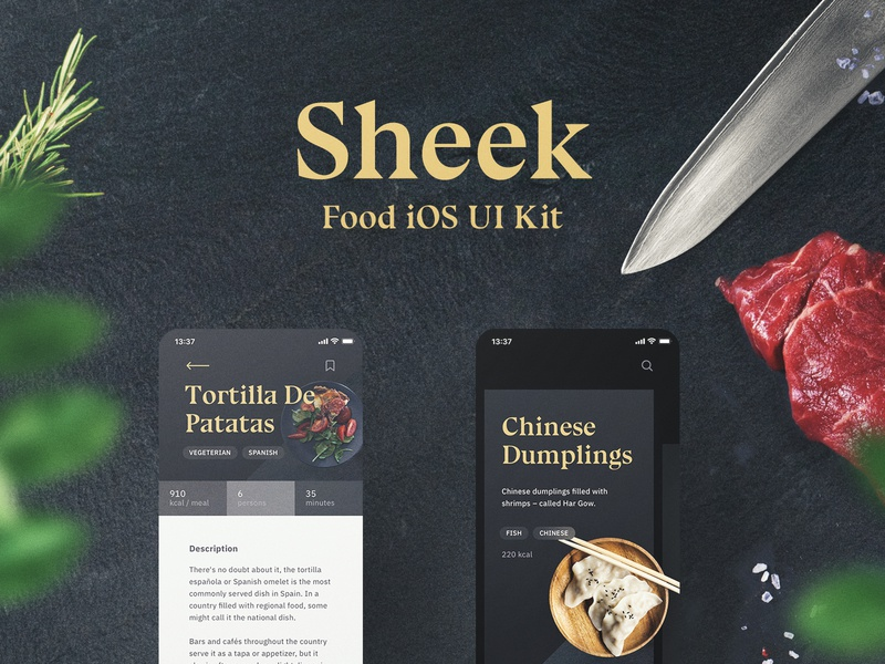 Sheek Food iOS UI Kit Release food app shift system animation ae figma sketch theme kit kits ui8 restaurants order food app ux yung ui frish design