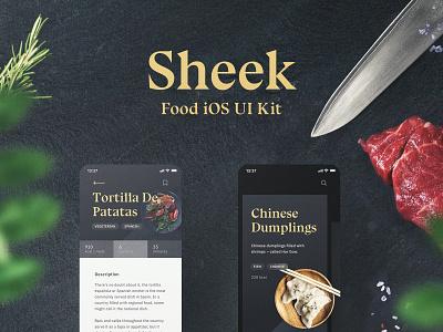 Sheek Food iOS UI Kit Release food app shift system animation ae figma sketch theme kit kits ui8 restaurants order food app ux yung ui frish design
