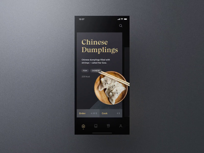 Sheek Food iOS UI Kit Hero Animation frish yung cook cooking ui8 professional elegant dark clean recipes order restaurants system design shift kit ui ios food sheek