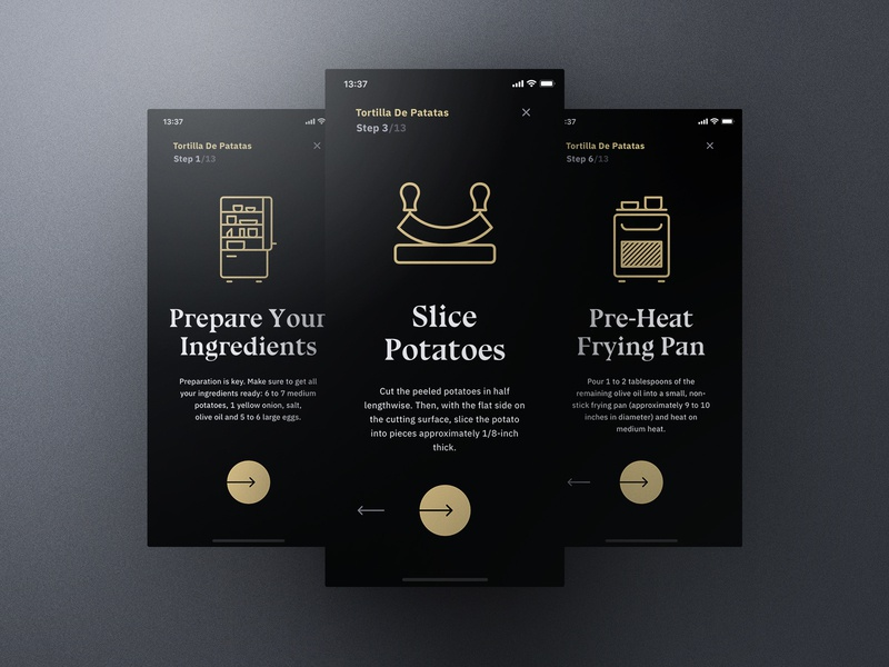 Sheek Food iOS UI Kit Cooking Mode frish yung cook cooking ui8 professional elegant dark clean recipes order restaurants system design shift kit ui ios food sheek
