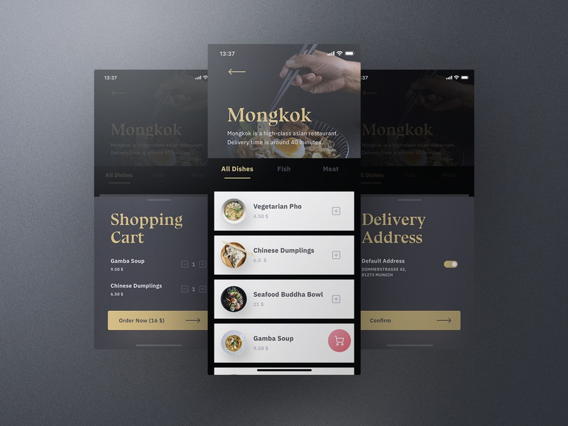 Sheek Food iOS UI Kit Order Flow frish yung cook cooking ui8 professional elegant dark clean recipes order restaurants system design shift kit ui ios food sheek