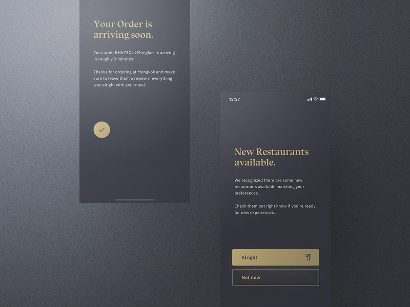 Sheek Food iOS UI Kit Notifications frish yung cook cooking ui8 professional elegant dark clean recipes order restaurants system design shift kit ui ios food sheek
