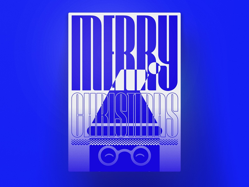 Merry Christmas everyone colors white blue contrast bold artsy art inverted print font scoop poster munich frish yung new year 2019 christmas merry
