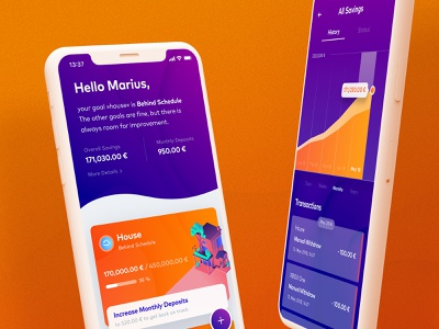 Garden Finance App ui design vibrant colors interface experience playful finances garden munich munichre android ios mobile app fintech finance ux ui