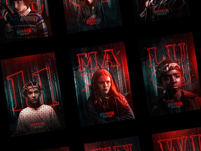 Netflix Stranger Things Character Posters will byers mike wheeler nancy eleven artwork fanart posters netflix stranger things
