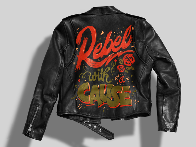 Painted leather jacket illustration jacket hand painted leather rock n roll rebel hand lettering lettering painting