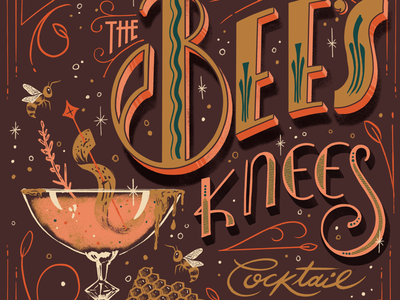 Lettered Libations: the Bee's Kees Cocktail speakeasy deco 1920 retro vintage cocktail mixed drink libation illustration hand lettering lettering
