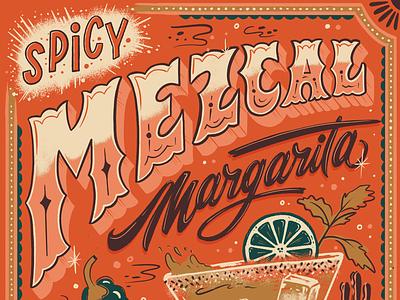 Lettered Libations Mezcal Margarita retro vintage margarita hand lettering illustration mezcal drink recipe drink