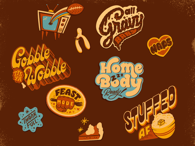 Thanksgiving flair 1980 80s 70s food holiday illustration stickers thanksgiving vintage retro hand lettering lettering