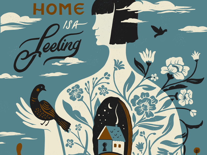 When you think of home project landscape floral heart house bird female nonprofit home hand lettering lettering illustration