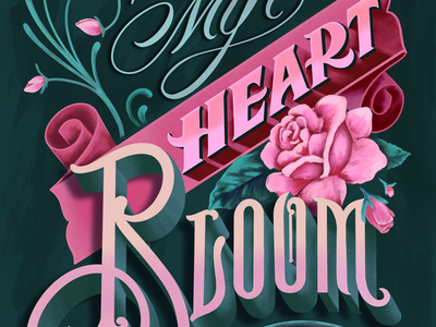 Valentines romantic styled card licensing greeting card victorian vintage illustration hand lettering lettering roses romance valentinesday