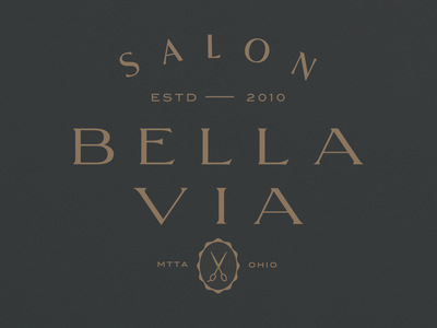 Bella Via Salon unchosen concept 3 word mark high end salon identity logo serif typography type lockup branding