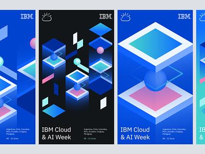 IBM cloud ai week visual identity proposal isometric geometric clean digital event technology gradient circle ibm data cloud