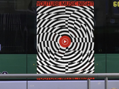 YouTube Music Night app youtube logo radial circles white black graphics waves sound night stripes music youtube