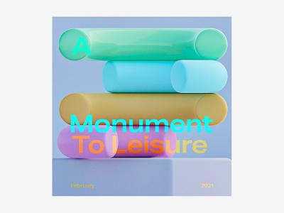 A monument to leisure exploration rainbow geometrics graphics sculpture 3d blender