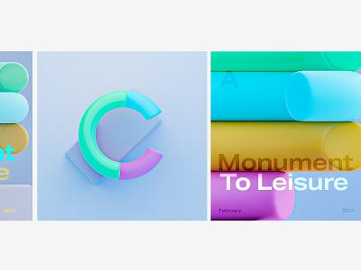 Monument to leisure 2 diverse blender3d experimental sculpture rainbow graphics blender 3d