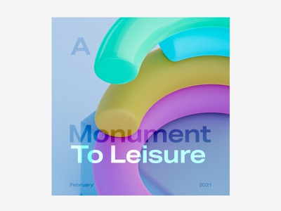 Monument to Leisure poster graphicdesign graphic sculpture rainbow colorful snake blender 3d