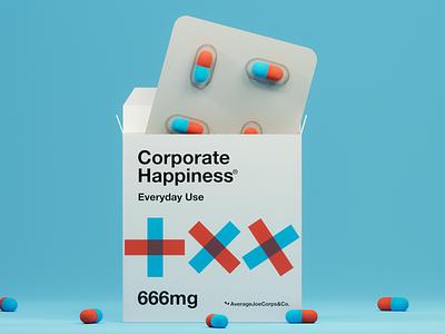 Corporate Happiness Pills corporate identity remedio creative drugstore drugs illustration 3d graphic blender concept happiness pills medicine corporate