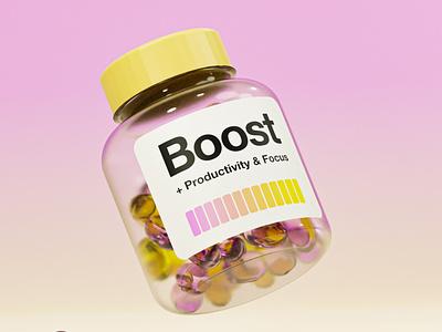 Boost Pills 3d modeling blender helvetica drugstore focus health pills 3d