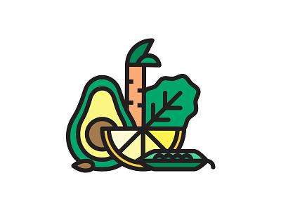 Wholefood avocado carrot illustration iconic veggie