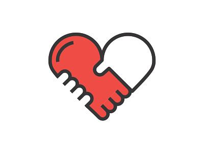 Belonging handshake heart icon