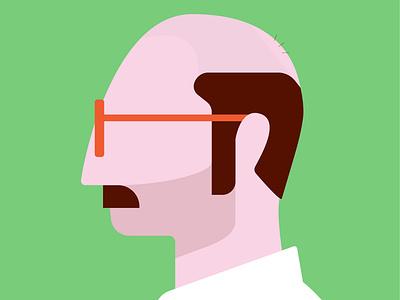 Profile office bald illustration