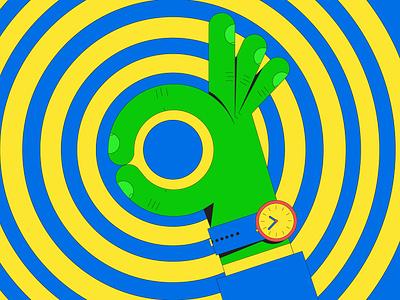 A-OK geometric ok circle vector illustration
