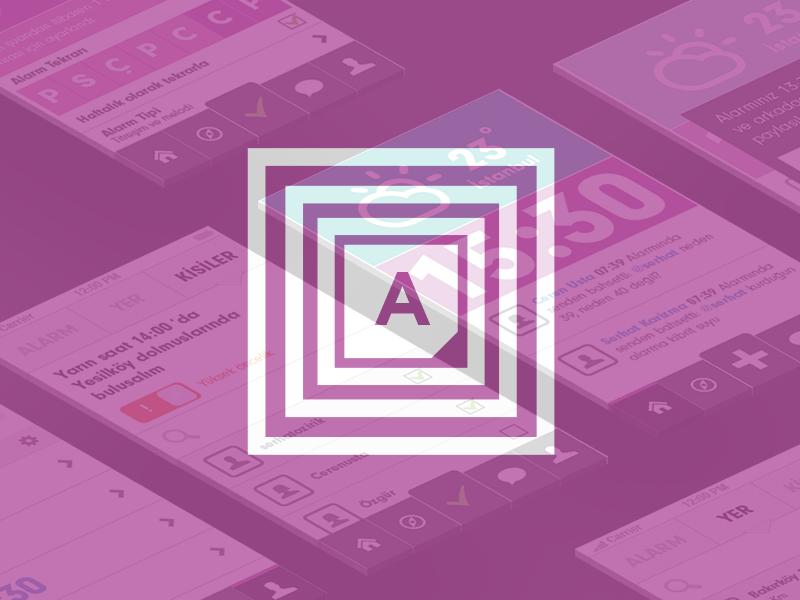 Social Alarm App social calendar alarm clock design flat iphone ios7 logo application purple perspective
