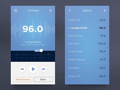 FM Radio UI blue radio equalizer play list share mobil ux ui application
