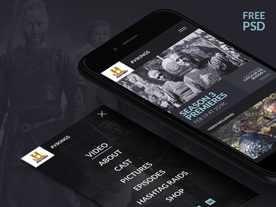 History Channel Application Design history channel vikings tv series iphone application video menu freebies psd