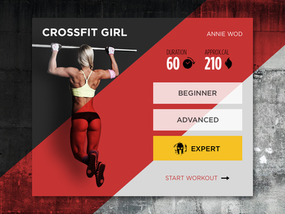 Crossfit Card expert wall red clean pullup crossfit freebies sketchapp widget sport workout girl
