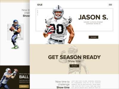 O/LE Design onepage ball helmet brown concept ux ui football american us