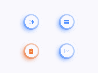 Glass icons in Figma icon web site ux ui layer style landing design blue and white advantage minimal clean glass icons design figma