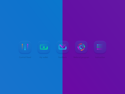 Neon glass icons in Figma